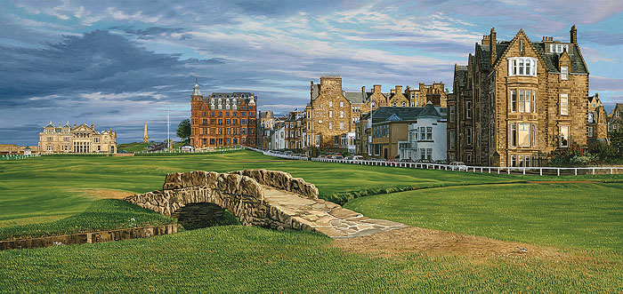 Linda Hartough - The 18th Hole Swilcan Bridge the Royal and Ancient Golf -  LIMITED EDITION CANVAS Published by the Greenwich Workshop