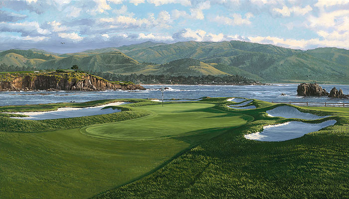 Linda Hartough - The 17th Hole Pebble Beach Golf Links -  LIMITED EDITION CANVAS Published by the Greenwich Workshop