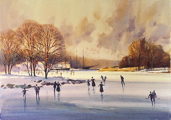 Paul Landry - THE SKATERS (REMARQUE) -  LIMITED EDITION PRINT Published by the Greenwich Workshop