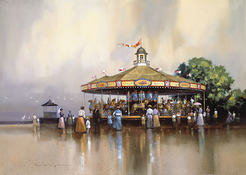 Paul Landry - SEASIDE CAROUSEL -  LIMITED EDITION PRINT Published by the Greenwich Workshop
