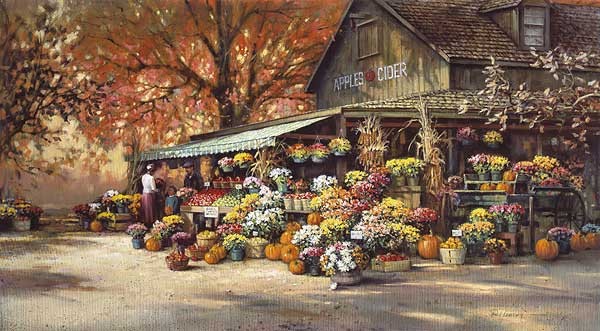 Paul Landry - AUTUMN MARKET -  LIMITED EDITION PRINT Published by the Greenwich Workshop