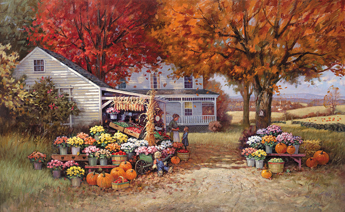 Paul Landry - AUNT MARTHA'S AUTUMN HEIRLOOM -  LIMITED EDITION CANVAS Published by the Greenwich Workshop