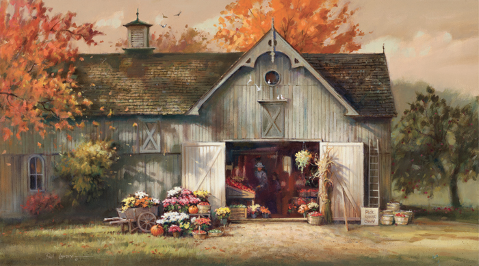 Paul Landry - Autumn Barn -  LIMITED EDITION CANVAS Published by the Greenwich Workshop