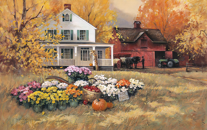 Paul Landry - Pumpkin Hayride -  LIMITED EDITION CANVAS Published by the Greenwich Workshop