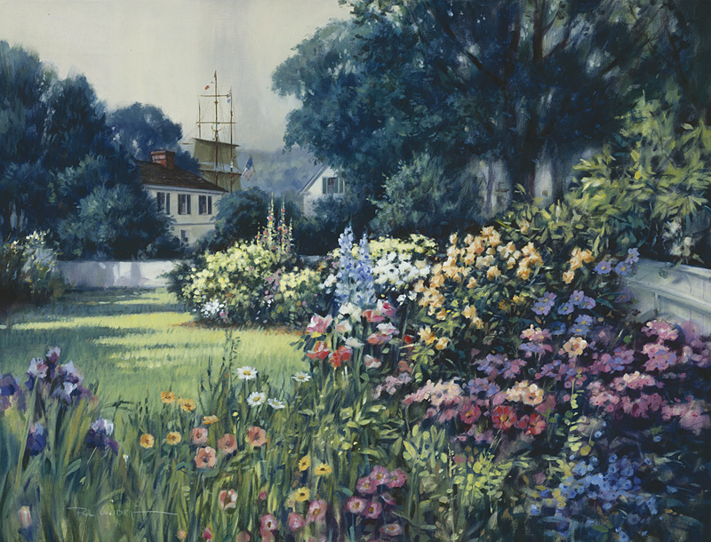 Paul Landry - Seaport Garden, Mystic -  LIMITED EDITION CANVAS Published by the Greenwich Workshop