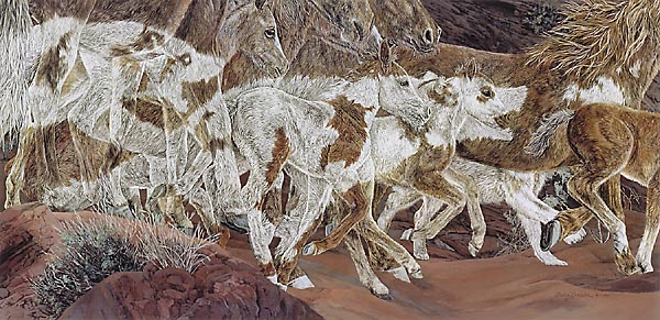 Judy Larson - THREE WOLVES -  LIMITED EDITION PRINT Published by the Greenwich Workshop