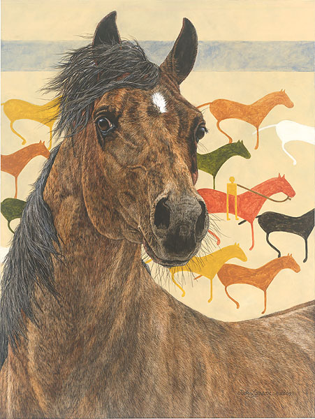 Judy Larson - Elk Dog Tipi -  LIMITED EDITION CANVAS Published by the Greenwich Workshop