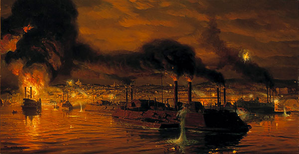 Tom Lovell - UNION FLEET PASSING VICKSBURG -  LIMITED EDITION PRINT Published by the Greenwich Workshop