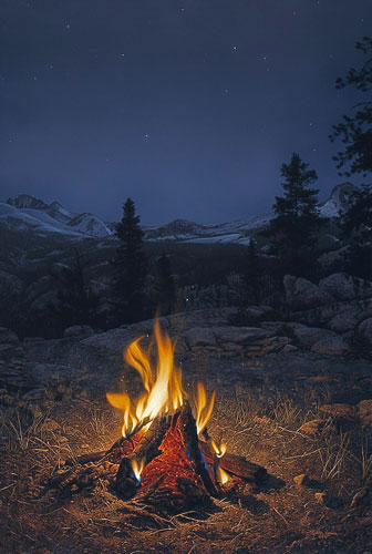 Stephen Lyman - A MOUNTAIN CAMPFIRE -  LIMITED EDITION PRINT Published by the Greenwich Workshop