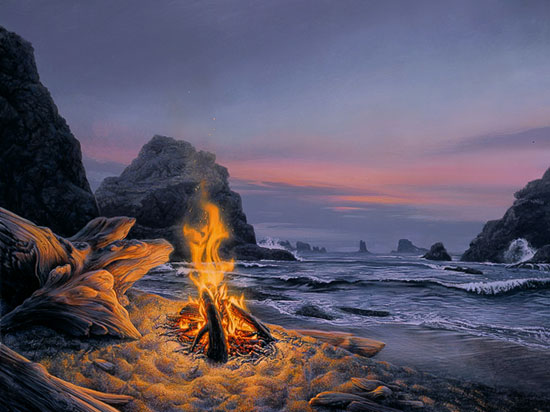 Stephen Lyman - BEACH BONFIRE -  LIMITED EDITION PRINT Published by the Greenwich Workshop