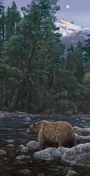 Stephen Lyman - Moonbear Listens to the Earth -  ANNIVERSARY EDITION CANVAS Published by the Greenwich Workshop