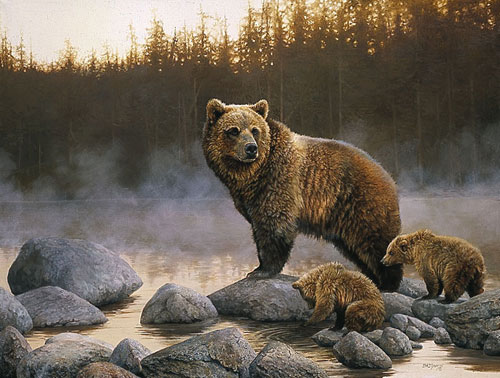 Bonnie Marris - THE STILLNESS (GRIZZLY&CUBS) -  LIMITED EDITION PRINT Published by the Greenwich Workshop