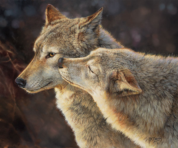 Bonnie Marris - Wolf Kiss -  SMALLWORK CANVAS EDITION Published by the Greenwich Workshop