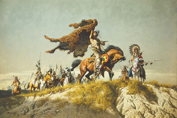 Frank C. McCarthy - Buffalo Robe Signal -  LIMITED EDITION CANVAS Published by the Greenwich Workshop