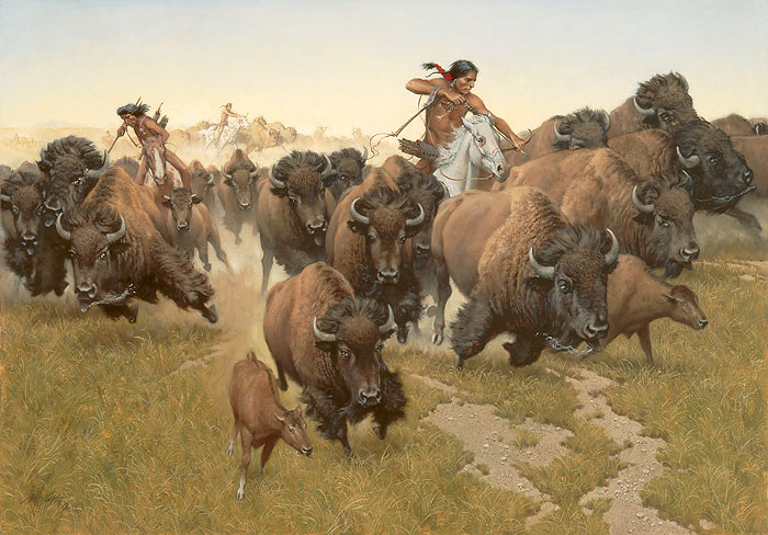 Frank C. McCarthy - Amidst the Thundering Herd -  LIMITED EDITION CANVAS Published by the Greenwich Workshop