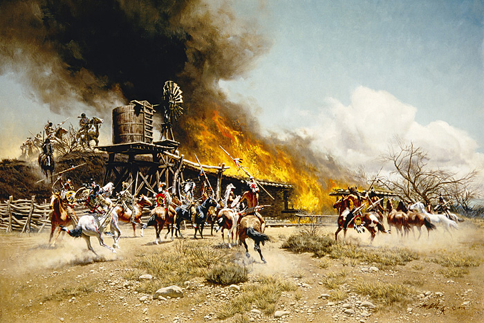 Frank C. McCarthy - Burning the Way Station -  LIMITED EDITION CANVAS Published by the Greenwich Workshop