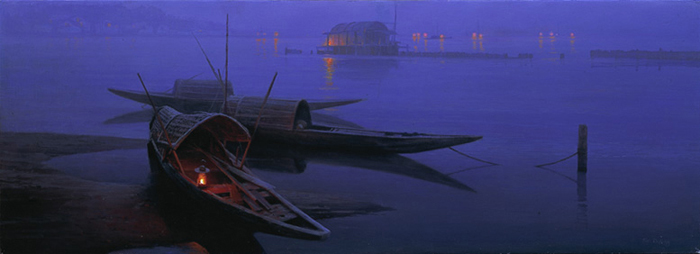 Mo Dafeng - NIGHT FISHING -  LIMITED EDITION CANVAS Published by the Greenwich Workshop