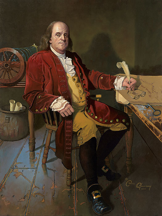 Dean Morrissey - Ben Franklin: Patriot and Renaissance Man -  MASTERWORK CANVAS EDITION Published by the Greenwich Workshop