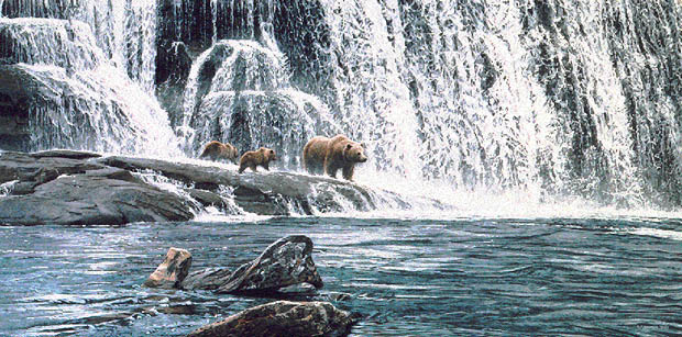 Ron Parker - GRIZZLIES AT THE FALLS -  LIMITED EDITION PRINT Published by the Greenwich Workshop