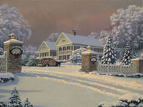 William S. Phillips - WINTER VISITORS AT KRINGLE HILL INN -  L.E.CANVAS Published by the Greenwich Workshop