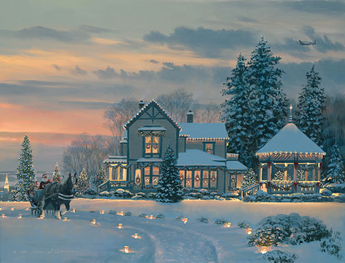 William S. Phillips - Christmas Eve at the Winchester Inn -  LIMITED EDITION CANVAS Published by the Greenwich Workshop