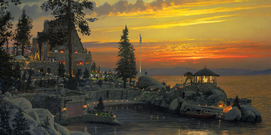 William S. Phillips - An Evening to Remember at Thunderbird Lodge, Lake Tahoe -  LIMITED EDITION CANVAS Published by the Greenwich Workshop