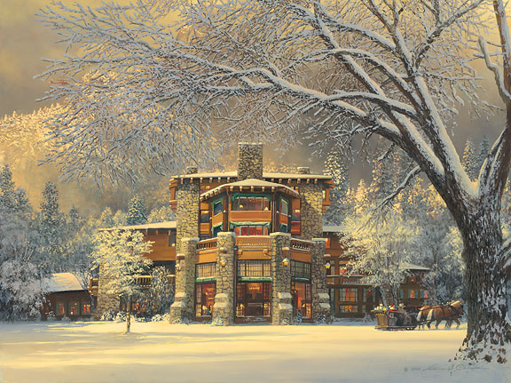 William S. Phillips - Christmas Eve at the Ahwahnee -  LIMITED EDITION CANVAS Published by the Greenwich Workshop