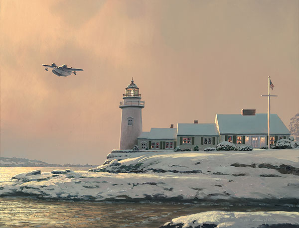 William S. Phillips - Afternoon Departure at Stoney Point Light -  LIMITED EDITION CANVAS Published by the Greenwich Workshop