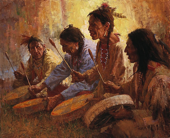 Howard Terpning - FOUR SACRED DRUMMERS -  LIMITED EDITION PRINT Published by the Greenwich Workshop