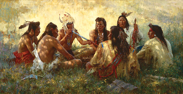 Howard Terpning - CROW PIPE CEREMONY -  LIMITED EDITION CANVAS Published by the Greenwich Workshop