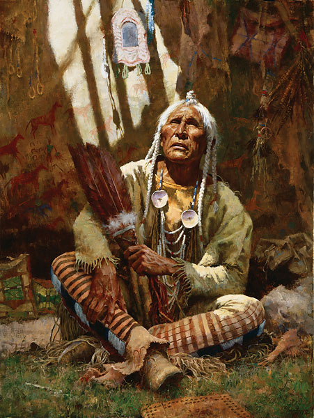 Howard Terpning - HOLY MAN OF THE BLACKFOOT -  LIMITED EDITION CANVAS Published by the Greenwich Workshop