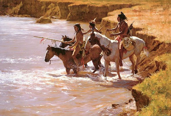Howard Terpning - CROSSING AT THE FORD -  LIMITED EDITION CANVAS Published by the Greenwich Workshop