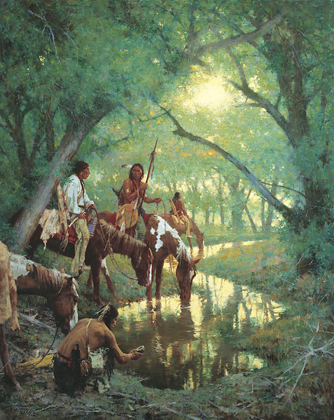"Howard Terpning - Cheyenne at the Disappearing Creek Called ""White -  Woman"" L.E.CANVAS Published by the Greenwich Workshop"