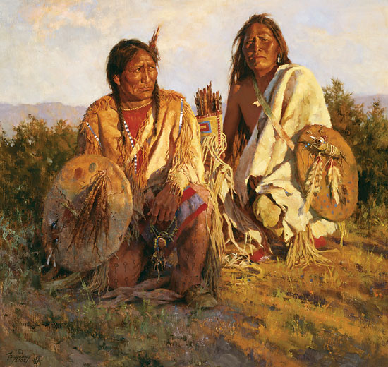 Howard Terpning - Medicine Shields of the Blackfoot -  LIMITED EDITION CANVAS Published by the Greenwich Workshop