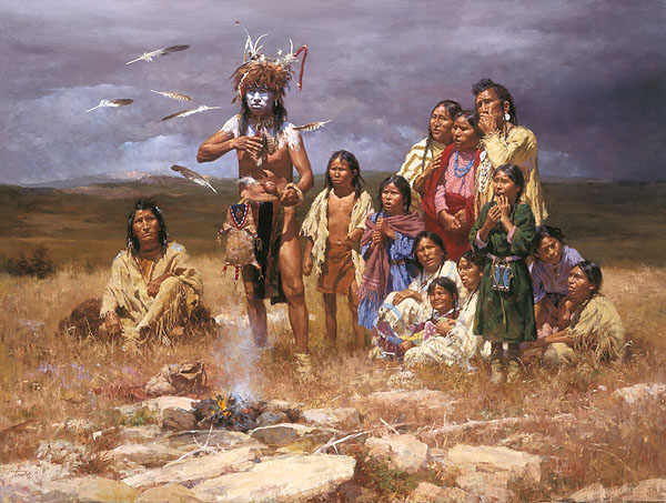 Howard Terpning - The Shaman and His Magic Feathers -  MUSEUMEDITION CANVAS Published by the Greenwich Workshop