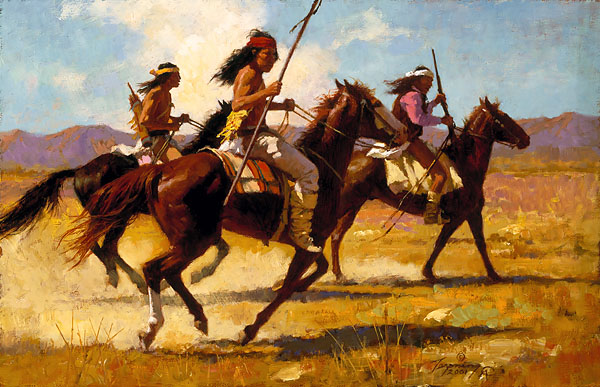 Howard Terpning - Light Cavalry -  SMALLWORK CANVAS EDITION Published by the Greenwich Workshop