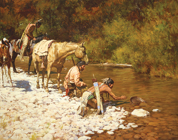 Howard Terpning - Prospectors Among the Blackfeet -  MASTERWORK CANVAS EDITION Published by the Greenwich Workshop