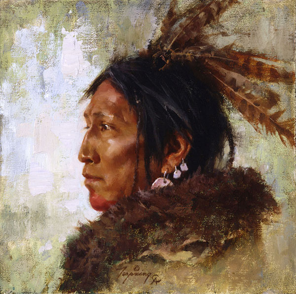 Howard Terpning - Hawk Feathers -  SMALLWORK CANVAS EDITION Published by the Greenwich Workshop