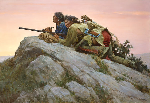 Howard Terpning - Sharpshooters Closing on the Herd -  MASTERWORK CANVAS EDITION Published by the Greenwich Workshop