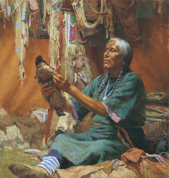 Howard Terpning - New Doll for My Granddaughter -  LIMITED EDITION CANVAS