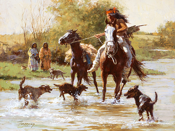 Howard Terpning - Yapping Dogs -  SMALLWORK CANVAS EDITION Published by the Greenwich Workshop