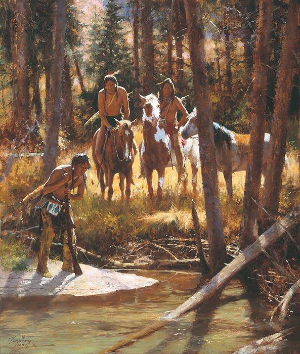 Howard Terpning - Bear Tracks -  LIMITED EDITION CANVAS Published by the Greenwich Workshop