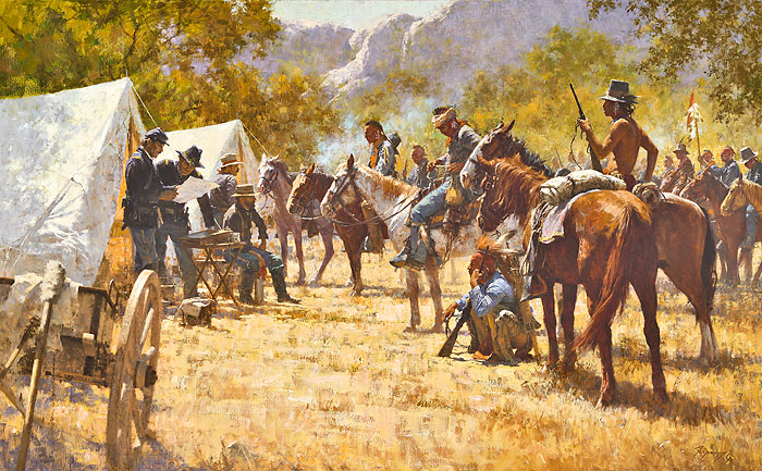 Howard Terpning - Major North and the Pawnee Battalion -  MASTERWORK CANVAS EDITION Published by the Greenwich Workshop