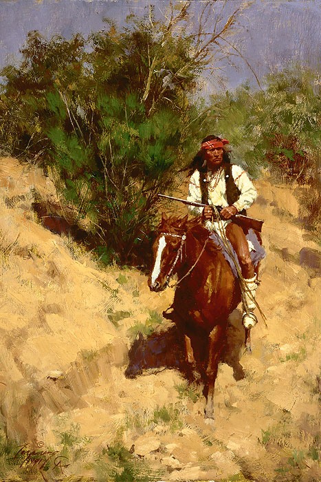 Howard Terpning - Apache Scout -  SMALLWORK CANVAS EDITION Published by the Greenwich Workshop
