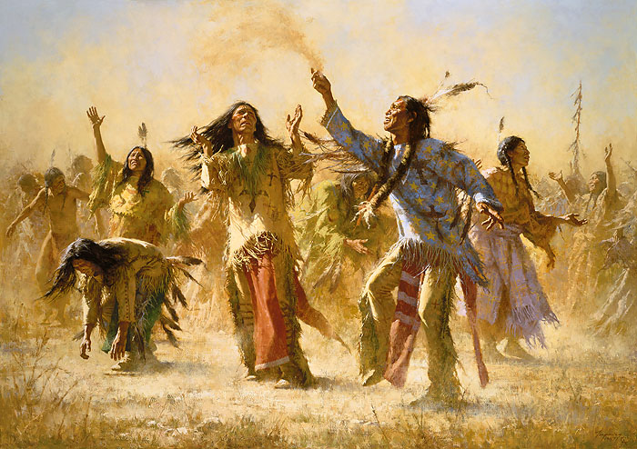 Howard Terpning - Hope Springs Eternal - The Ghost Dance -  ANNIVERSARY MUSEUM EDITION CANVAS Published by the Greenwich Workshop