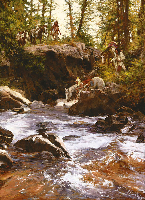 Howard Terpning - Crows in the Yellowstone -  LIMITED EDITION CANVAS Published by the Greenwich Workshop