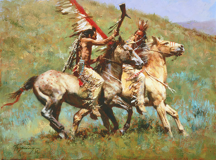 Howard Terpning - Tribal Warfare -  SMALLWORK CANVAS EDITION Published by the Greenwich Workshop