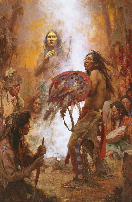 Howard Terpning - Transferring the Medicine Shield -  ANNIVERSARY MUSEUM CANVAS Published by the Greenwich Workshop