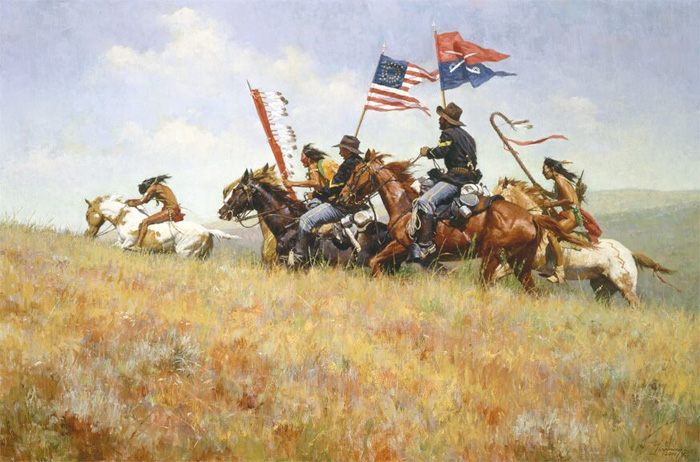 Howard Terpning - Flags on the Frontier -  MUSEUMEDITION CANVAS Published by the Greenwich Workshop