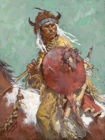Howard Terpning - CHEYENNE RED SHIELD -  SMALLWORK CANVAS EDITION Published by the Greenwich Workshop